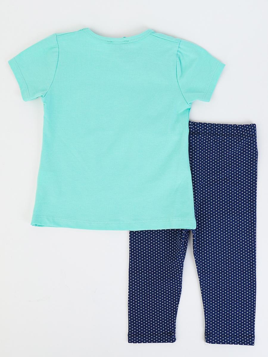 Комплект для девочки: футболка и бриджи, цвет: мятный