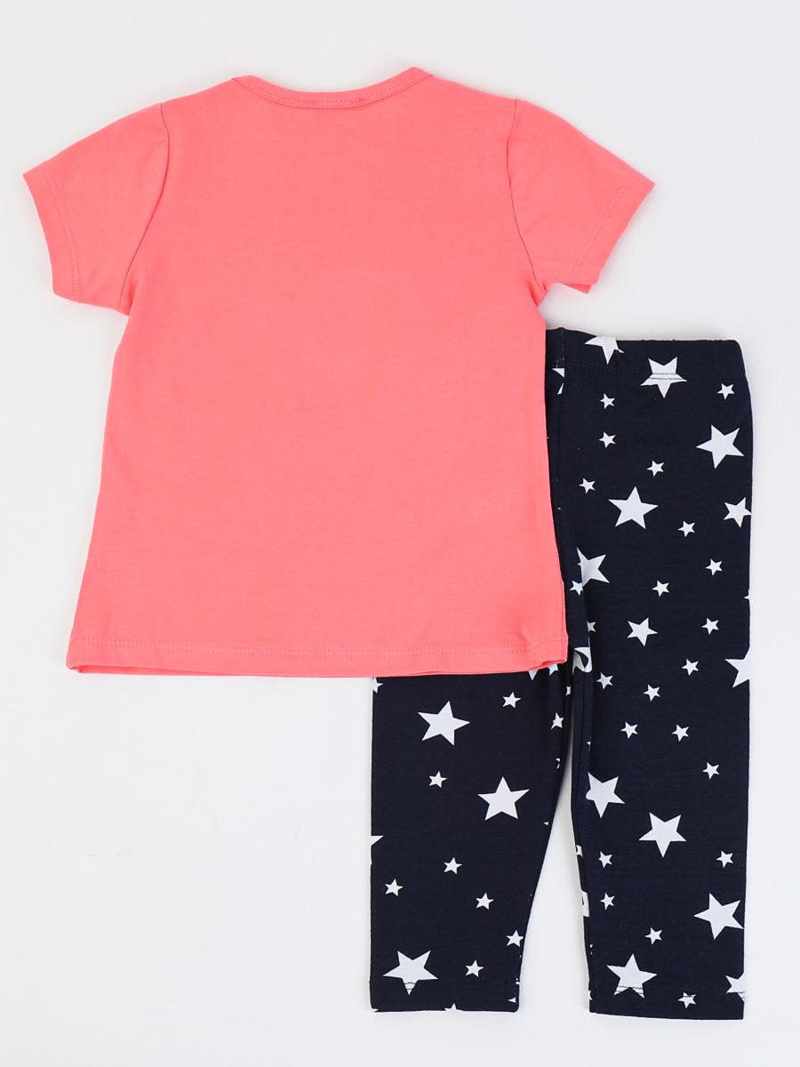 Комплект для девочки: футболка и бриджи, цвет: коралловый