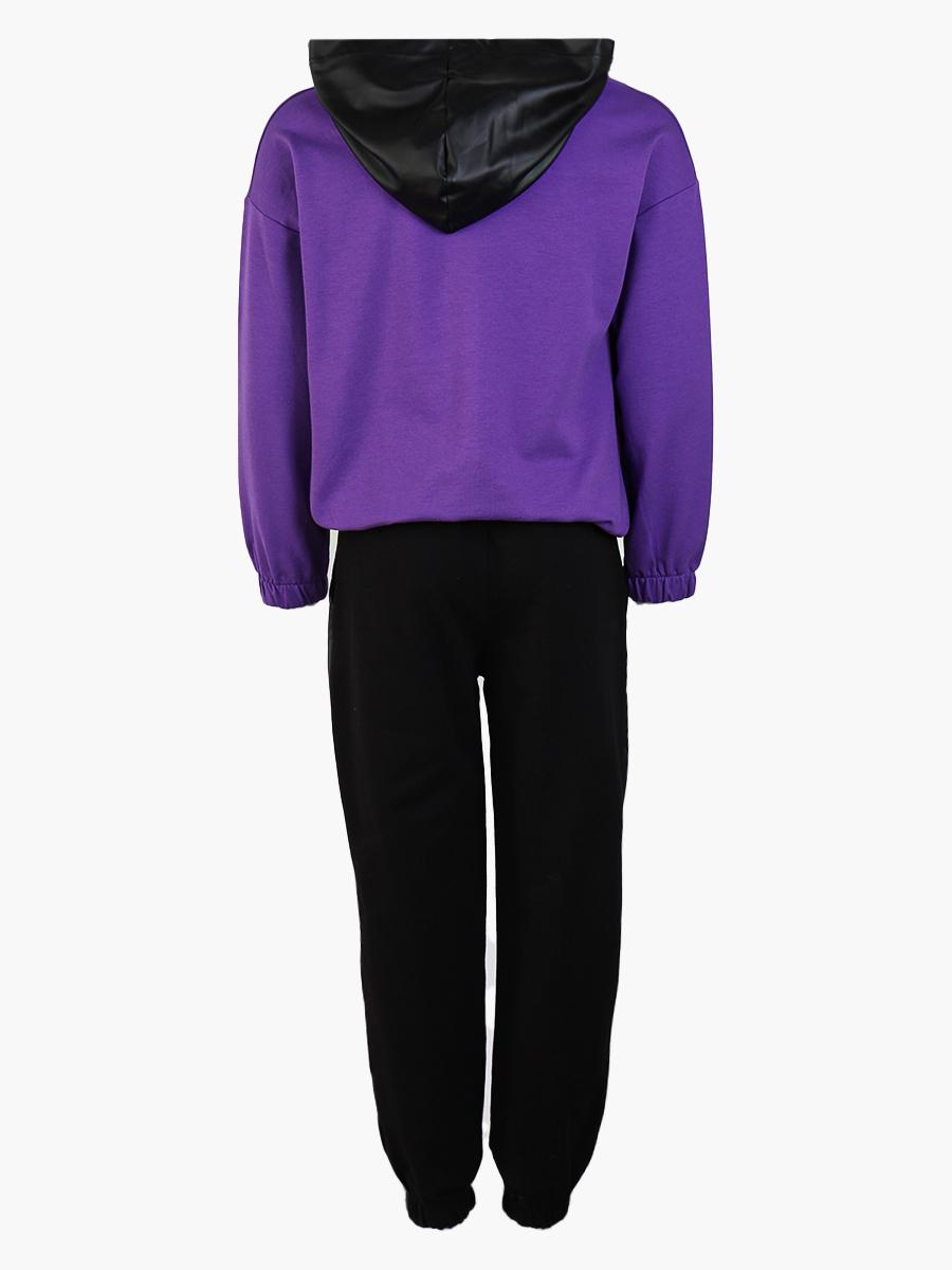 Комплект для девочки: толстовка и брюки спортивные, цвет: фиолетовый
