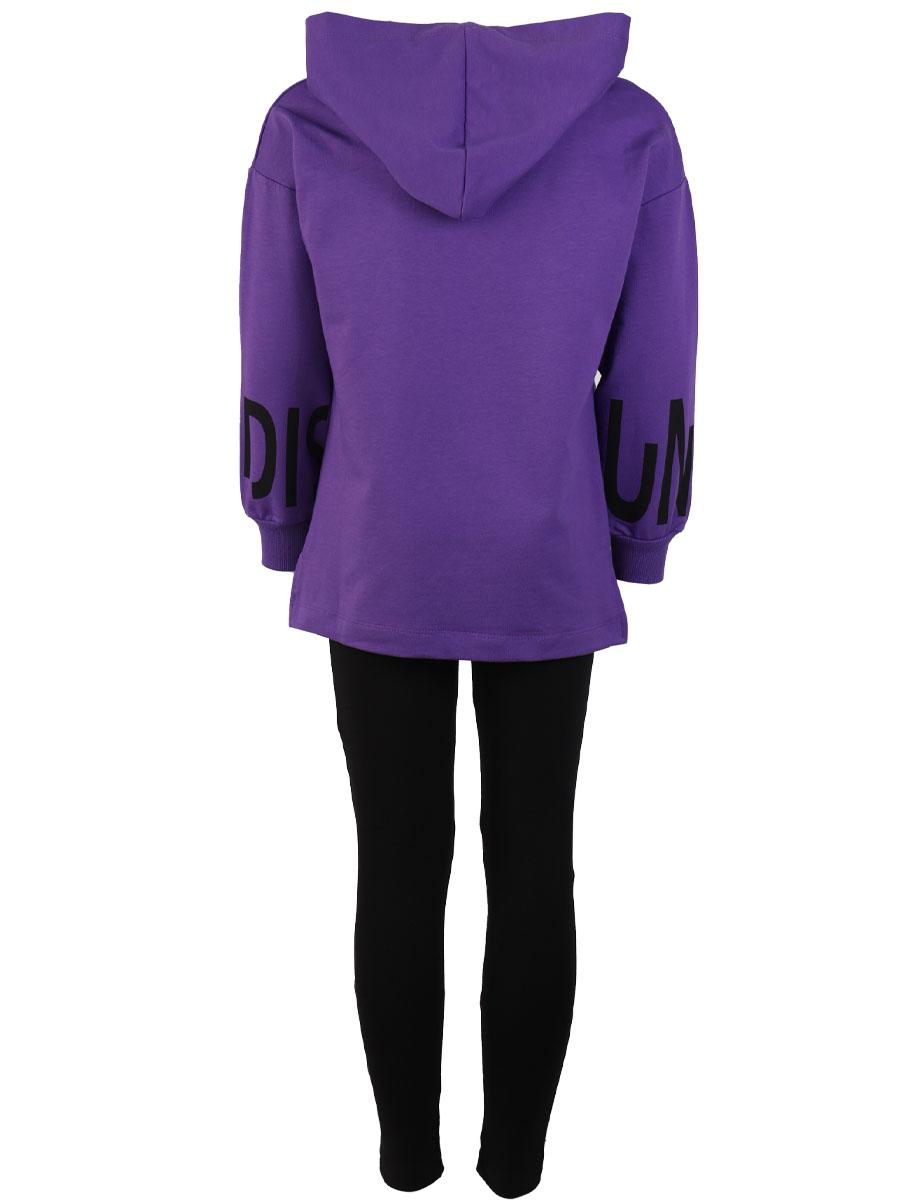 Комплект для девочки: толстовка и лосины, цвет: фиолетовый