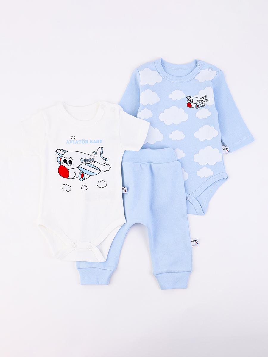 Комплект из 2-х боди и ползунков, цвет: голубой