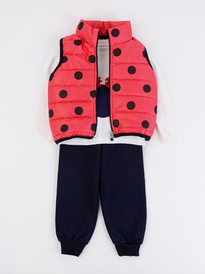 Комплект для девочки: кофточка, штанишки и болоньевый жилет на синтепоне