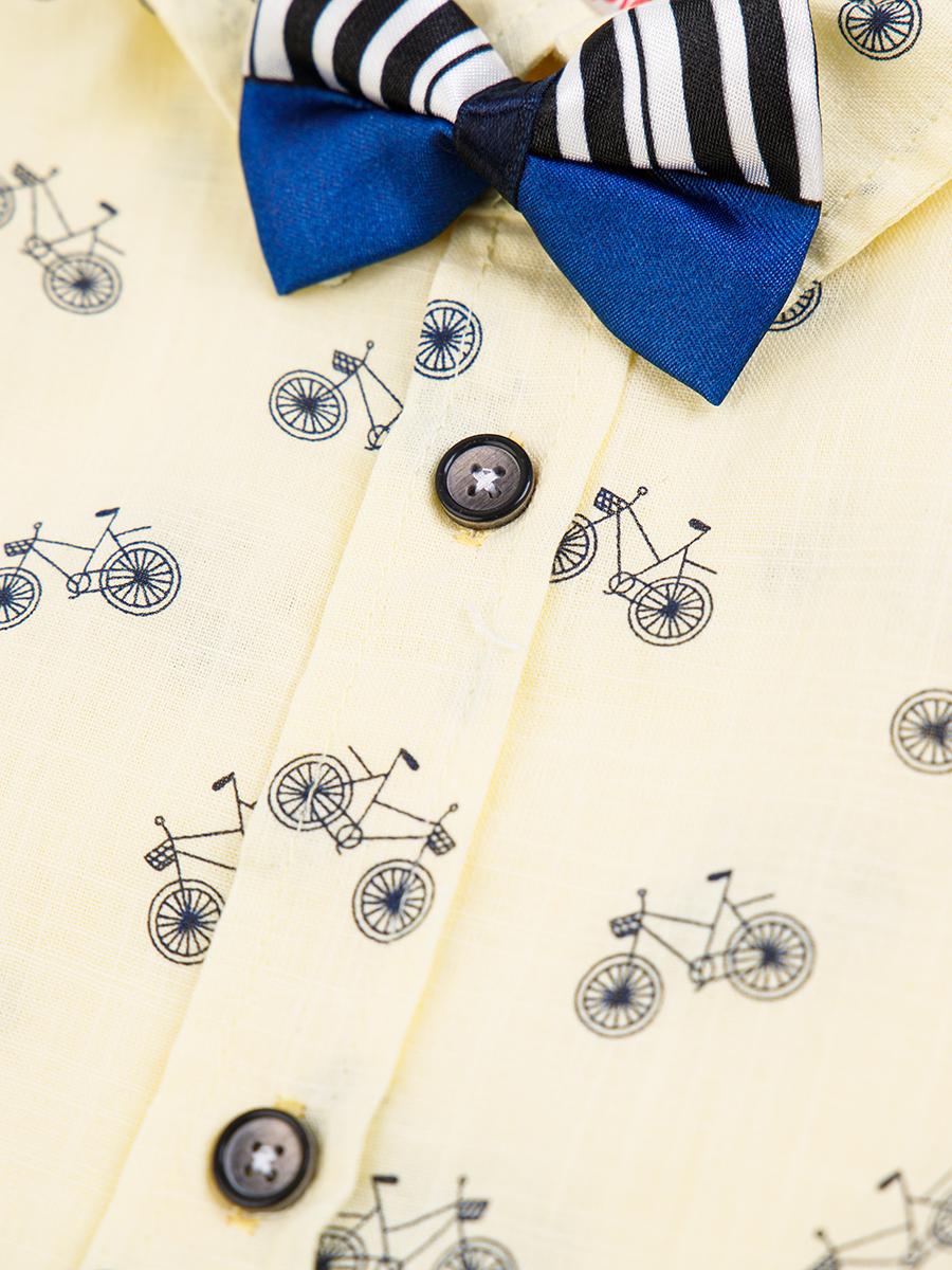 Комплект для мальчика: рубашка, бабочка и шорты с ремнем, цвет: желтый