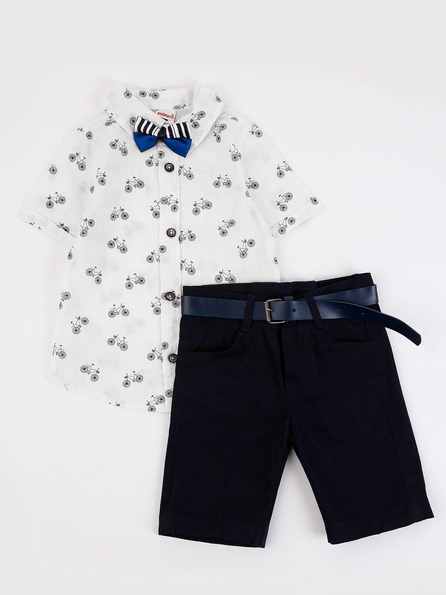 Комплект для мальчика: рубашка, бабочка и шорты с ремнем, цвет: белый