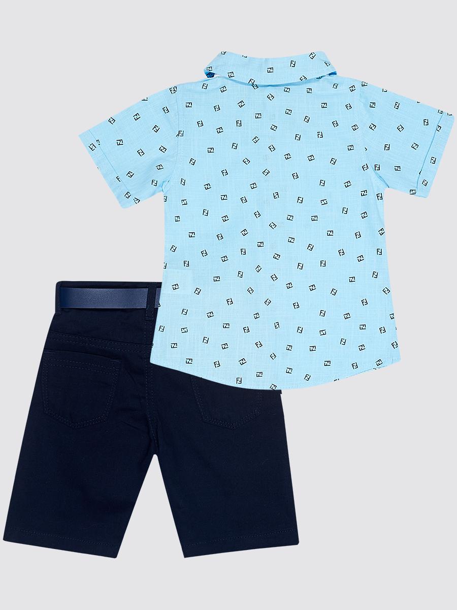 Комплект для мальчика: рубашка, бабочка и брюки с ремнем, цвет: голубой
