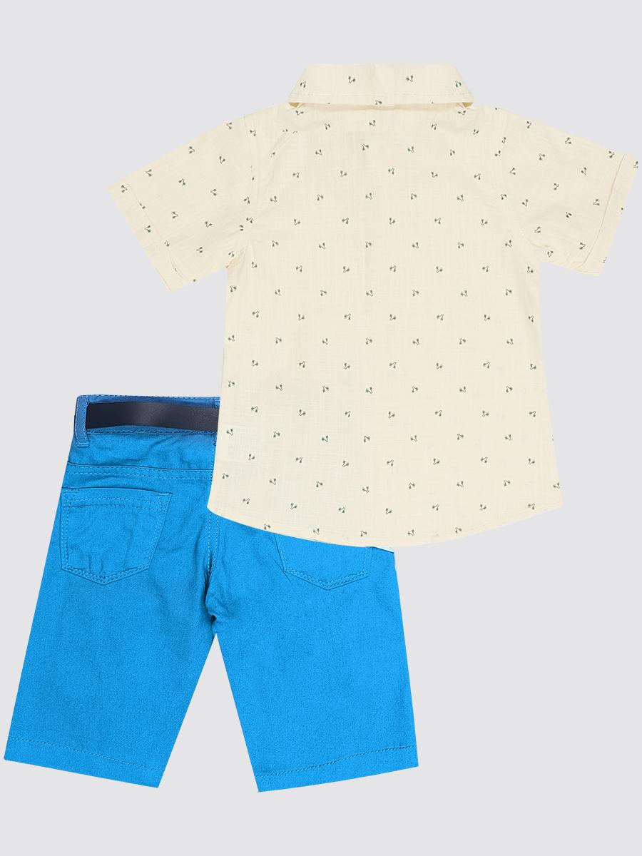 Комплект для мальчика: рубашка, бабочка и брюки с ремнем, цвет: молочный