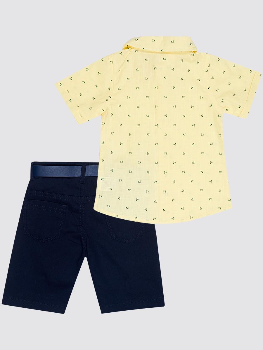 Комплект для мальчика: рубашка, бабочка и брюки с ремнем, цвет: желтый