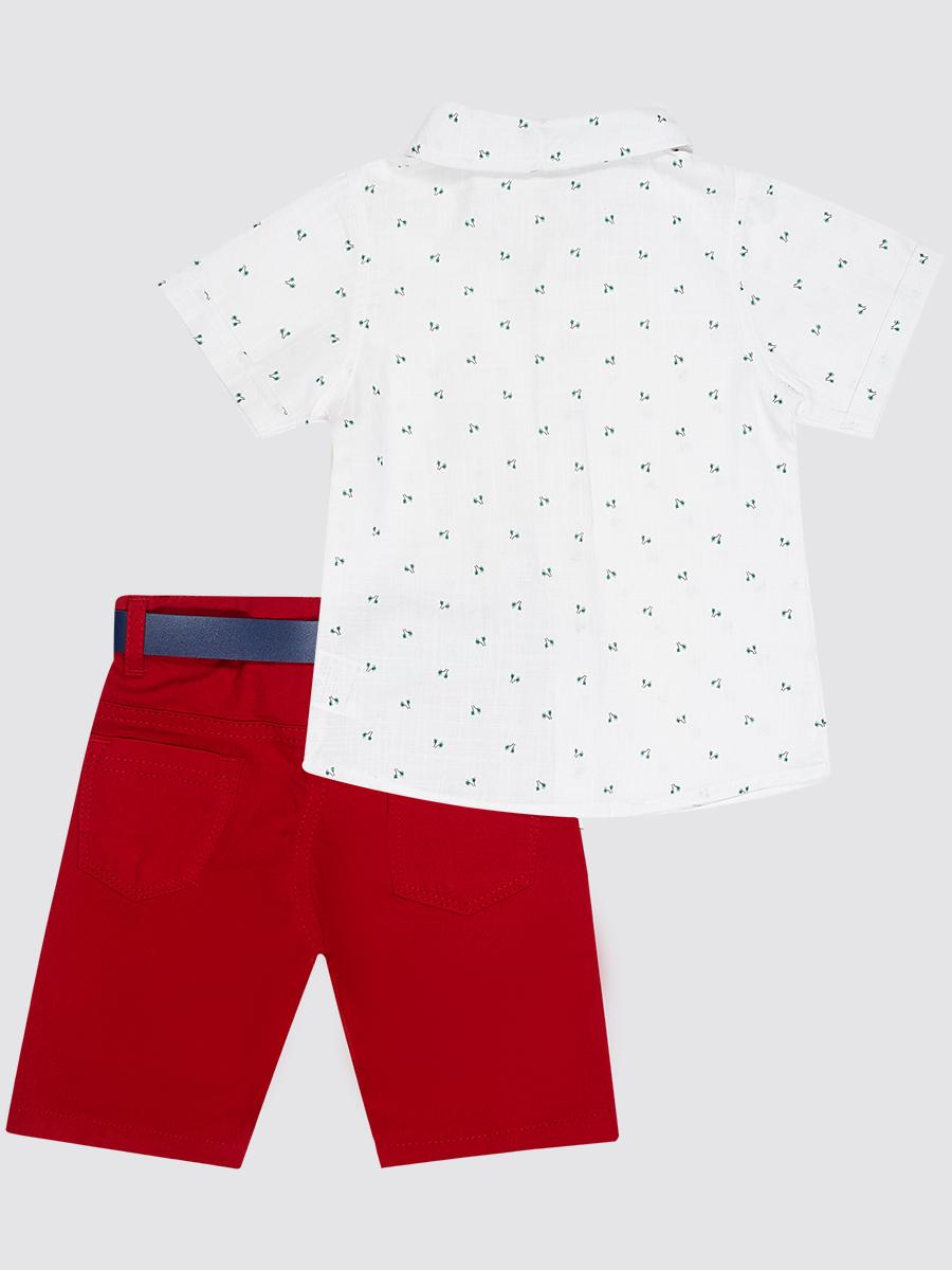 Комплект для мальчика: рубашка, бабочка и брюки с ремнем, цвет: белый