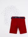 Комплект для мальчика: рубашка, бабочка и шорты с ремнем, цвет: бордовый