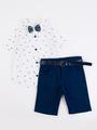 Комплект для мальчика: рубашка, бабочка и шорты с ремнем, цвет: синий
