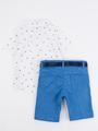 Комплект для мальчика: рубашка, бабочка и шорты с ремнем, цвет: голубой