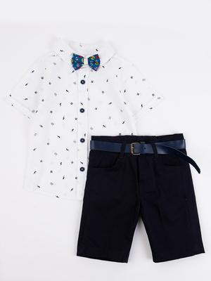 Комплект для мальчика: рубашка, бабочка и шорты с ремнем