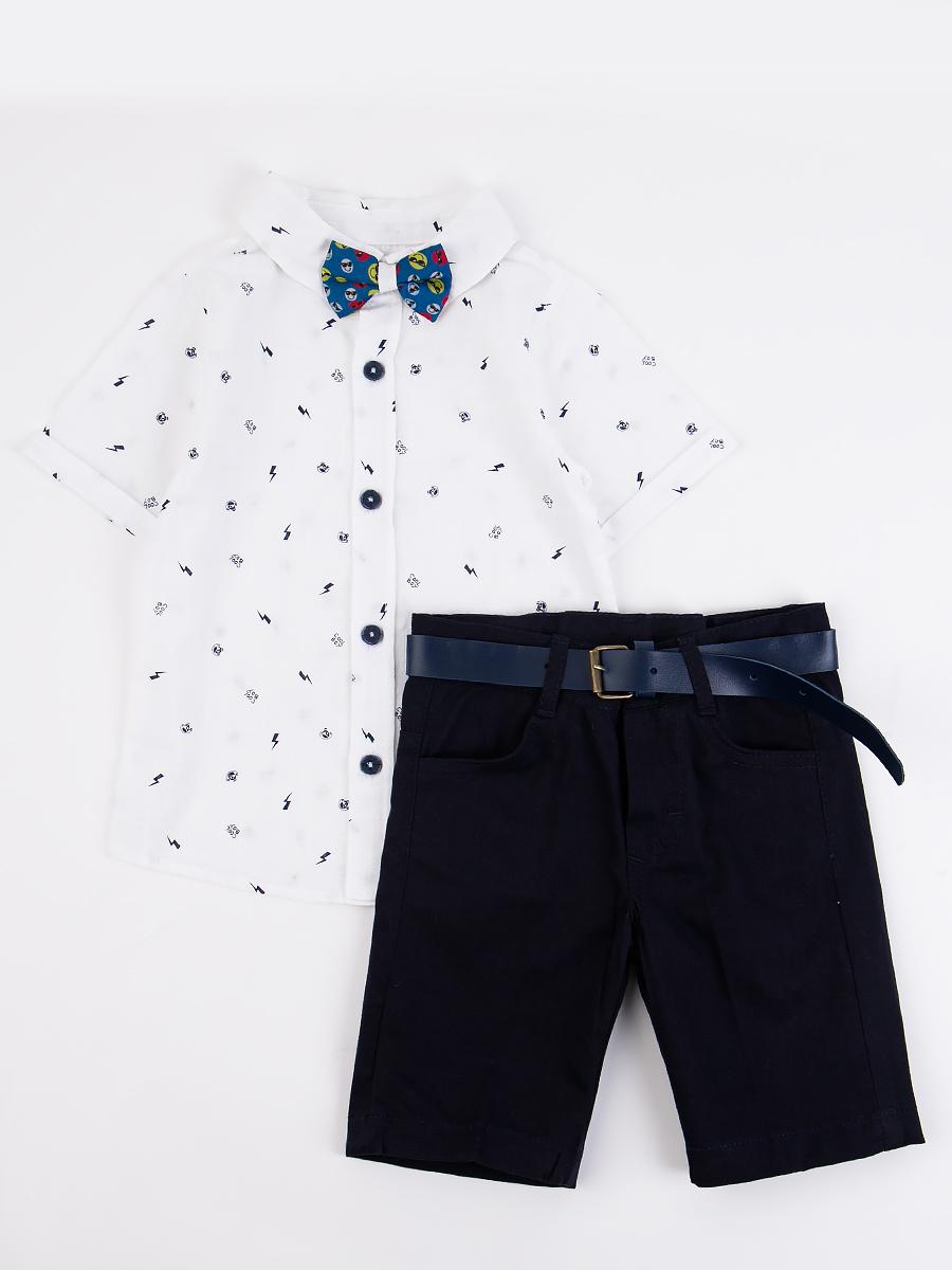 Комплект для мальчика: рубашка, бабочка и шорты с ремнем, цвет: темно-синий
