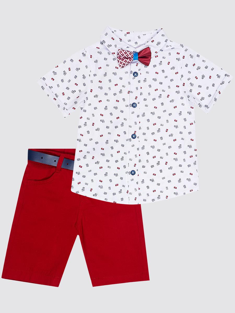 Комплект для мальчика: рубашка, бабочка и брюки с ремнем, цвет: бордовый
