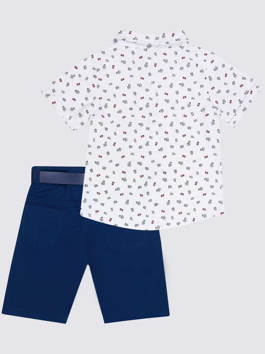 Комплект для мальчика: рубашка, бабочка и брюки с ремнем, цвет: синий