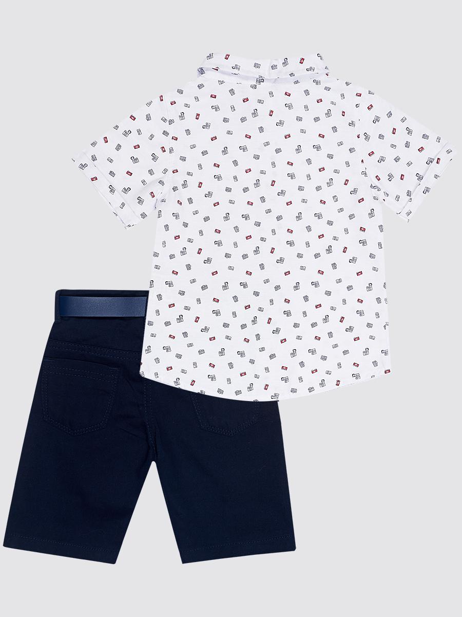 Комплект для мальчика: рубашка, бабочка и брюки с ремнем, цвет: темно-синий