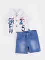 Комплект для мальчика: рубашка и шорты, цвет: деним