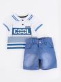 Комплект для мальчика: поло и шорты, цвет: деним