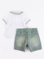Комплект для мальчика: поло и шорты, цвет: мятный