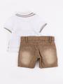 Комплект для мальчика: поло и шорты, цвет: бежевый