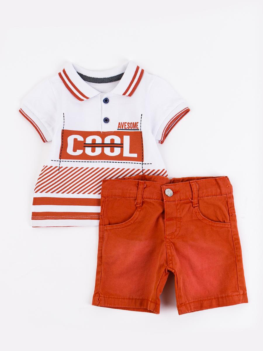 Комплект для мальчика: поло и шорты, цвет: кирпичный