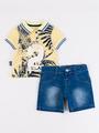 Комплект для мальчика: поло и джинсовые шорты, цвет: желтый