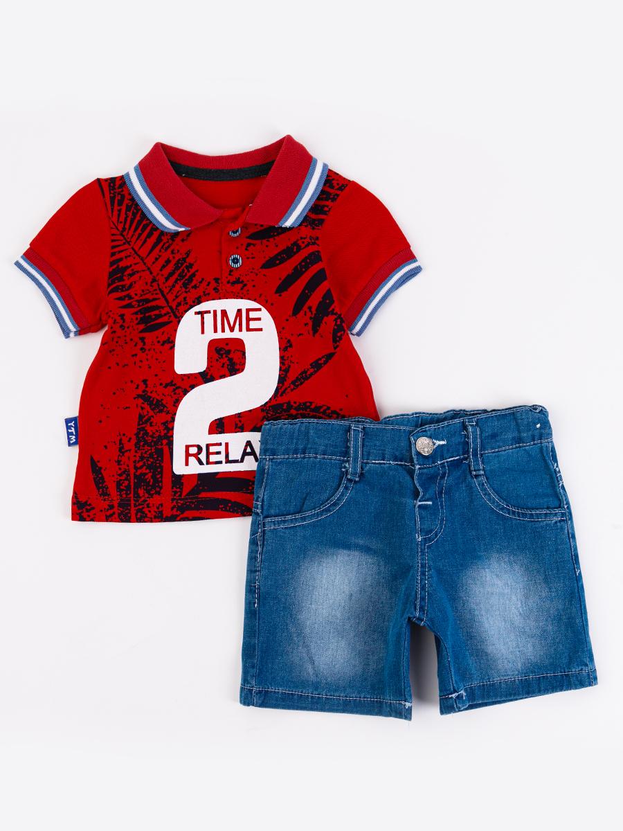 Комплект для мальчика: поло и джинсовые шорты, цвет: красный