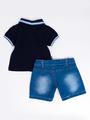 Комплект для мальчика: поло и джинсовые шорты, цвет: темно-синий