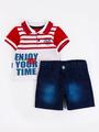 Комплект для мальчика: поло и шорты, цвет: красный