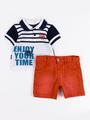 Комплект для мальчика: поло и шорты, цвет: темно-синий
