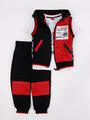 Комплект для мальчика: футболка, брюки спортивные и жилет, цвет: черный