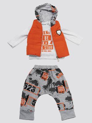 Комплект для мальчика: кофточка, штанишки и жилет болоньевый на синтепоне