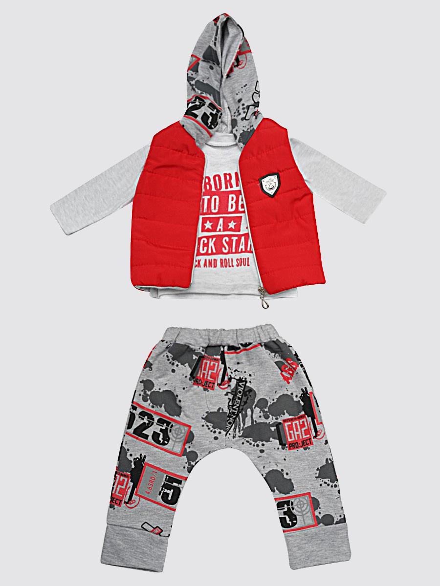 Комплект для мальчика: кофточка, штанишки и жилет болоньевый на синтепоне, цвет: красный