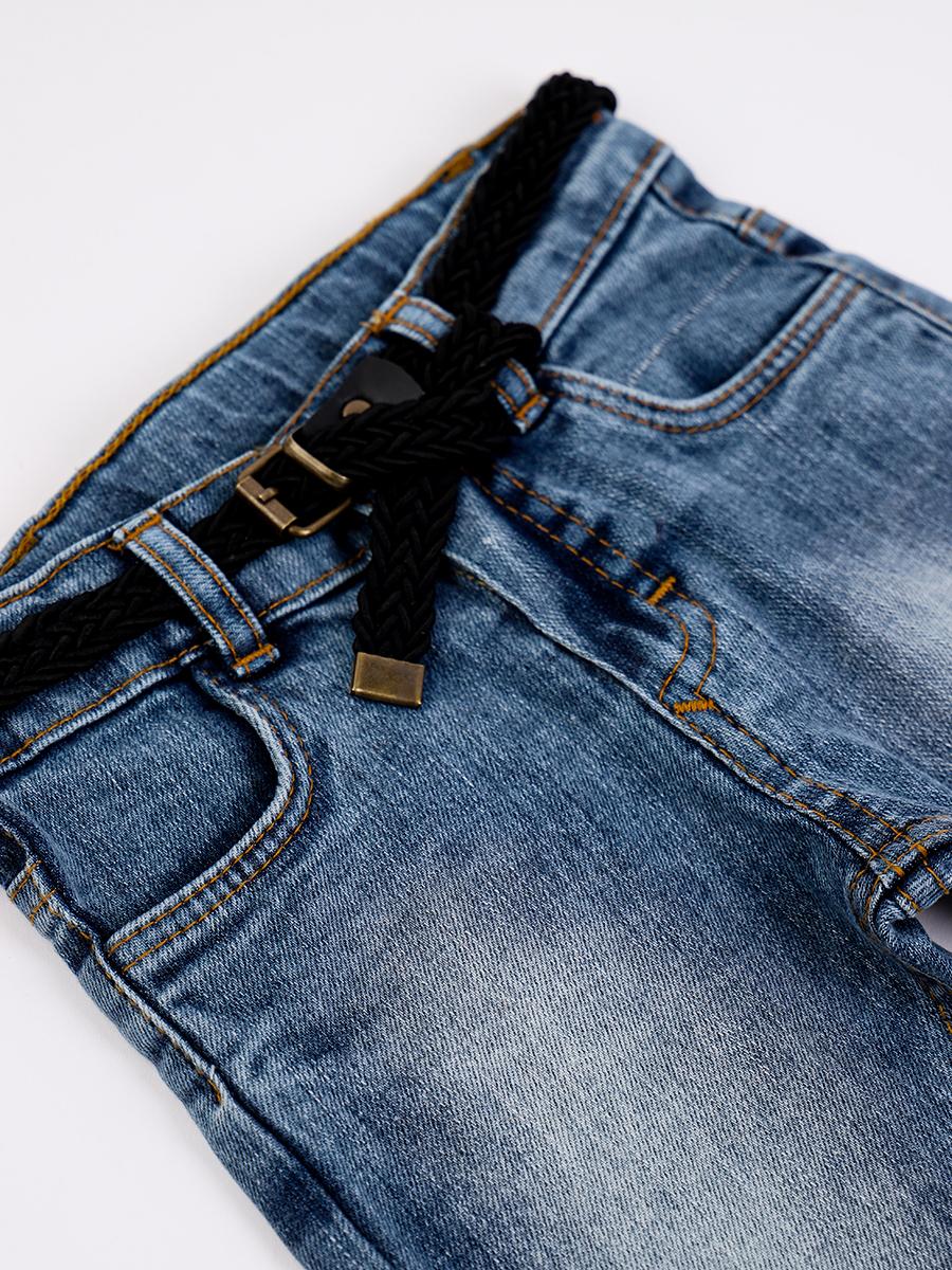 Комплект для мальчика: рубашка и брюки джинсовые с ремнем, цвет: хаки