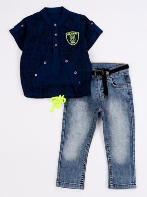 Комплект для мальчика: рубашка и брюки джинсовые с ремнем