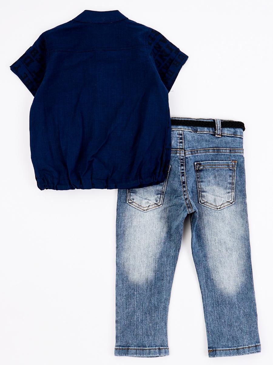 Комплект для мальчика: рубашка и брюки джинсовые с ремнем, цвет: темно-синий