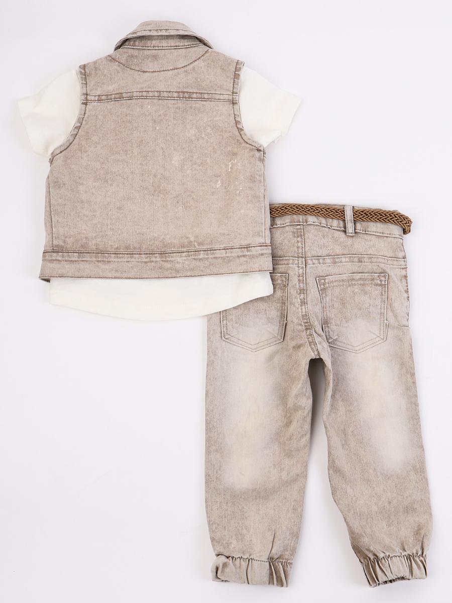 Комплект для мальчика: футболка, брюки джинсовые и жилет, цвет: бежевый