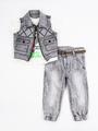 Комплект для мальчика: футболка, брюки джинсовые и жилет, цвет: серый
