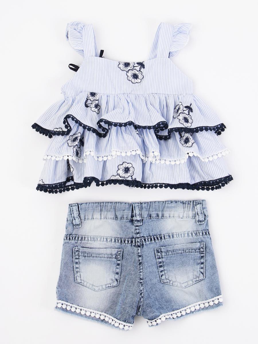 Комплект для девочки: топ и джинсовые шорты, цвет: деним