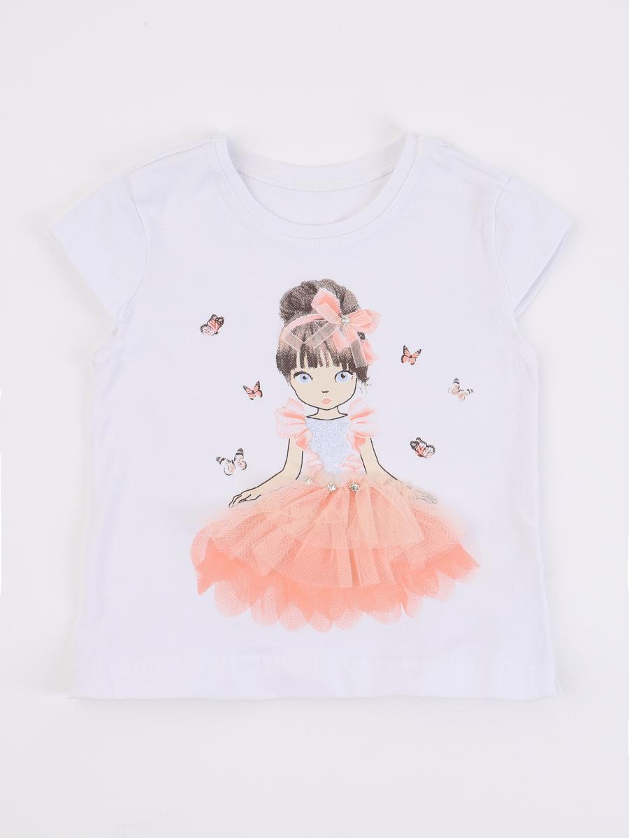 Комплект для девочки: футболка, шорты джинсовые и жилет, цвет: пудра