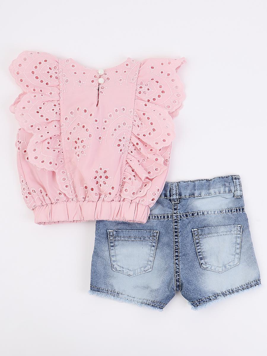 Комплект для девочки: блузка и шорты джинсовые, декор-брошь, цвет: розовый