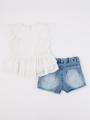 Комплект для девочки: туника и джинсовые шорты, цвет: белый