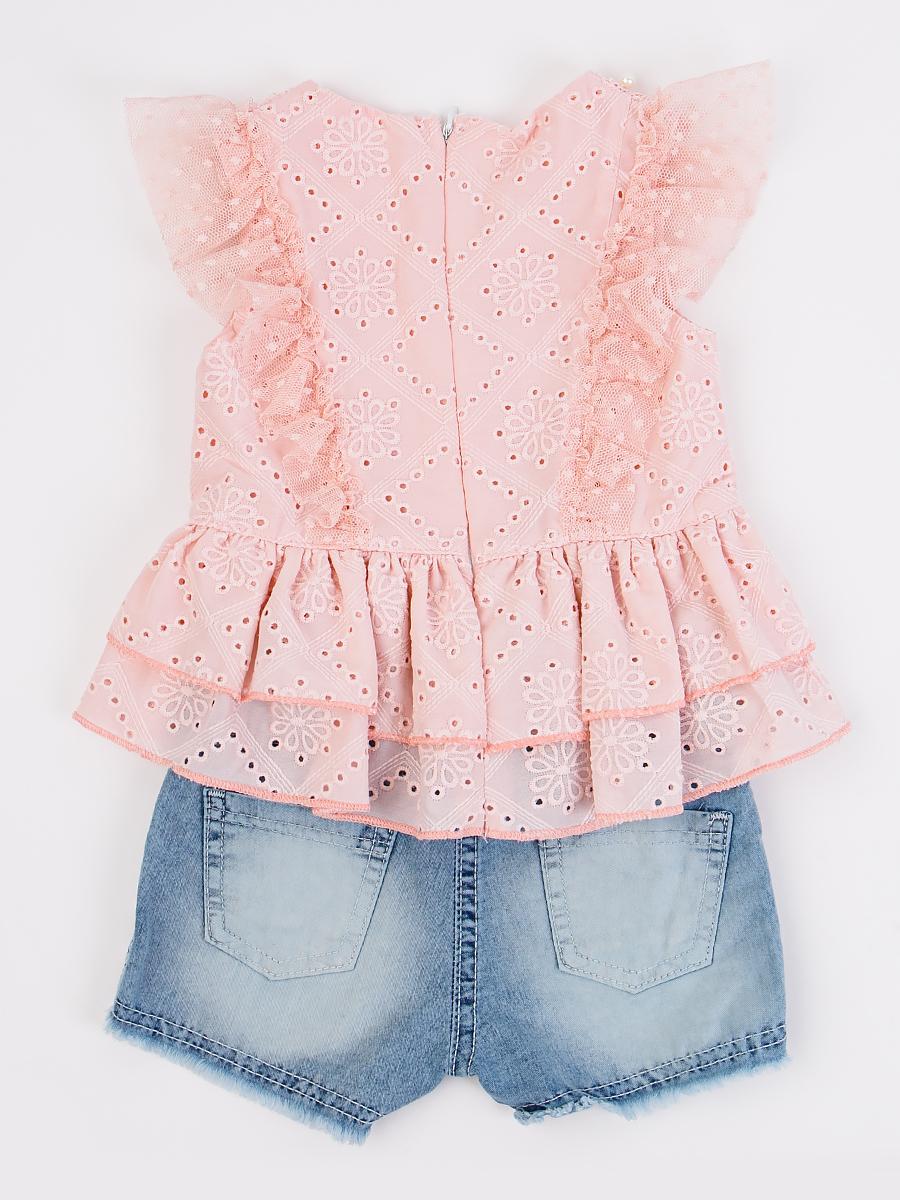 Комплект для девочки: туника и джинсовые шорты, цвет: пудра