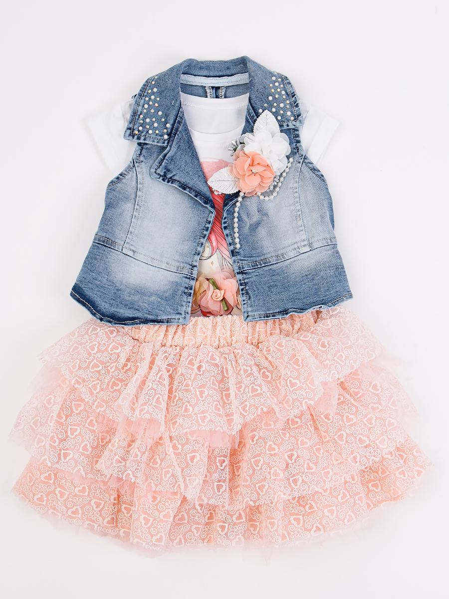 Комплект для девочки: футболка, гипюровая юбка и джинсовый жилет, цвет: пудра