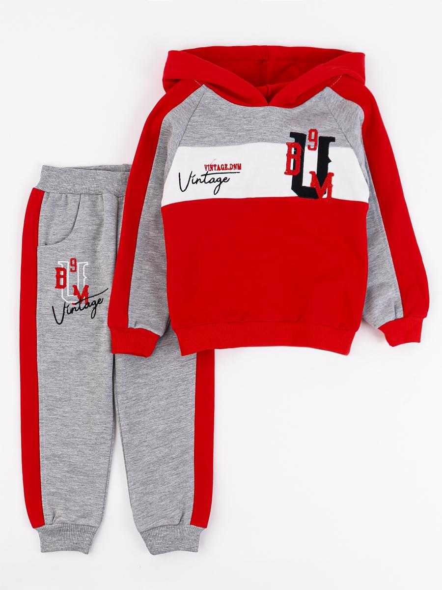Костюм спортивный: толстовка и брюки для мальчика, цвет: красный