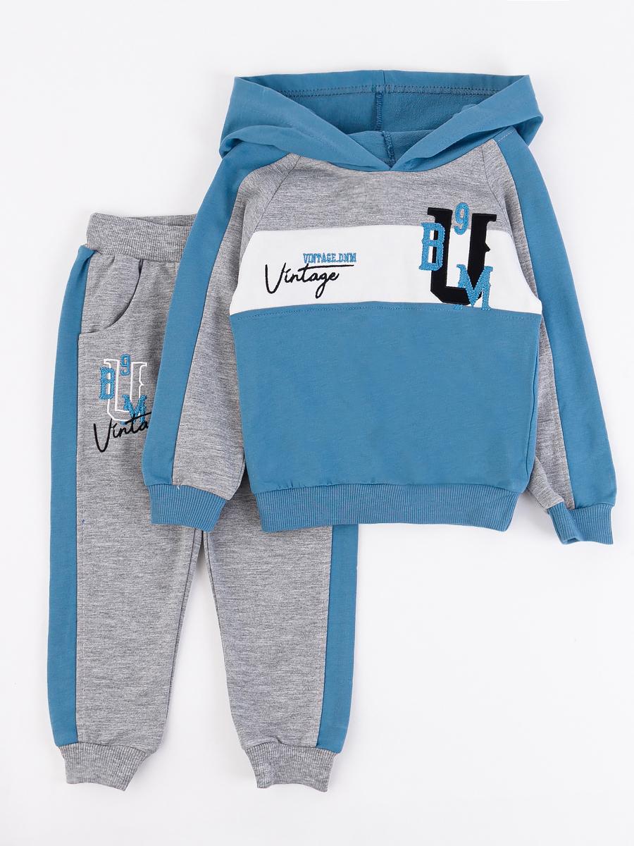 Костюм спортивный: толстовка и брюки для мальчика, цвет: деним