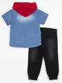Комплект для мальчика: футболка, рубашка джинсовая, брюки джинсовые, цвет: деним