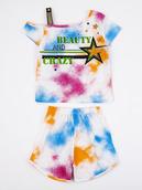 Комплект для девочки: ассиметричная футболка и шорты