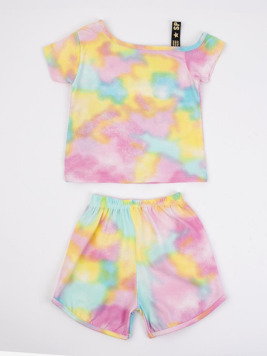 Комплект для девочки: ассиметричная футболка и шорты, цвет: мятный