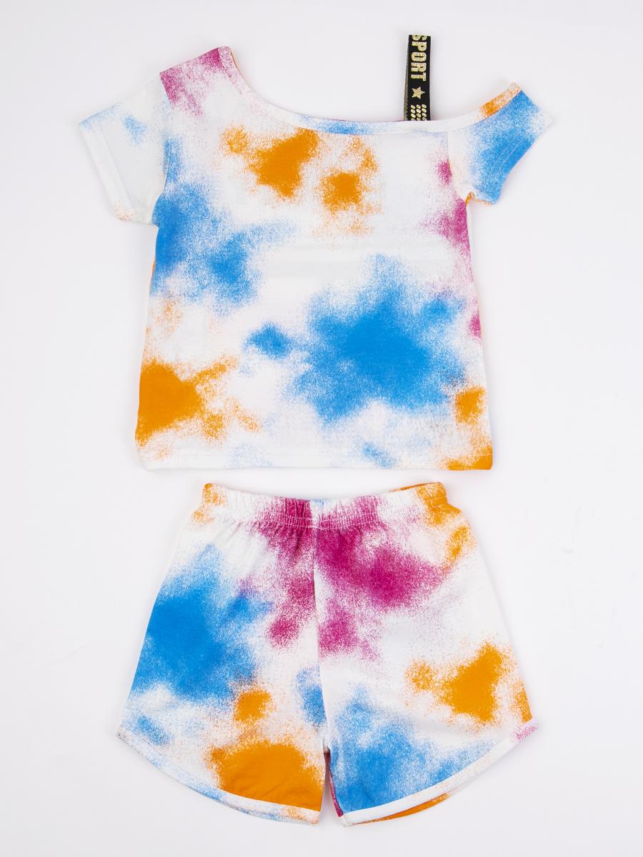 Комплект для девочки: ассиметричная футболка и шорты, цвет: оранжевый